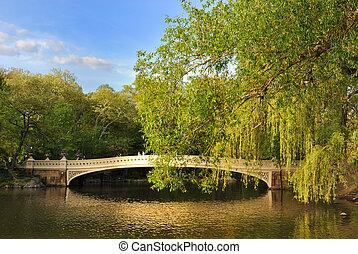 Central Park Bridge - Central Park bridge over a pond.