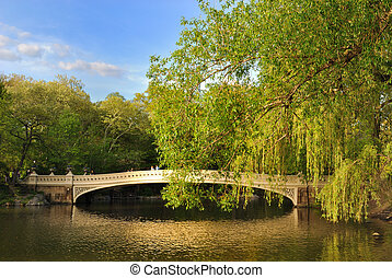 Central Park bridge over a pond.