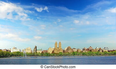 Central Park with Manhattan skyline time lapse in New York...