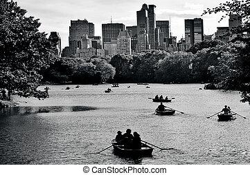 Central park lake in Manhattan New York