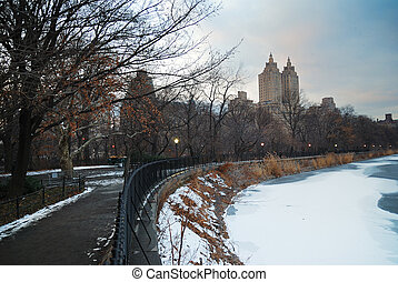 Central Park, New York City, with icy lake and road