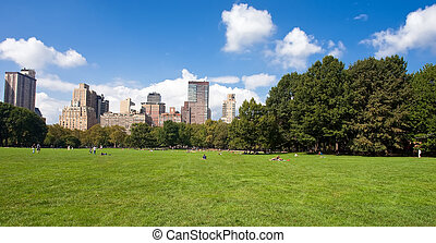 Central Park, New York - Manhattan skyline from the Central...