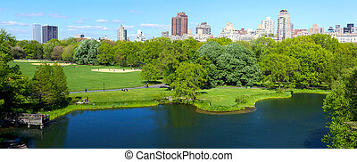 Central Park panorama with Manhattan skyscrapers over Turtle...