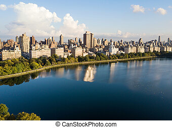 Central park reservoir in New York aerial view