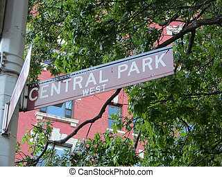 Central Park sign, New York City