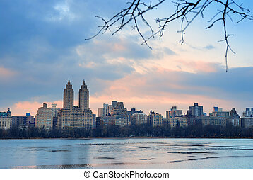 Central Park Skyline over lake, New York City - Central Park...