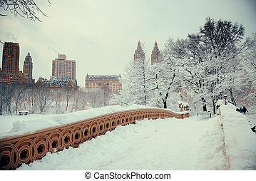 Central Park winter with skyscrapers and Bow Bridge in...