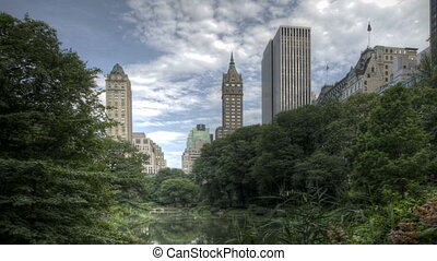 Central Park with Skyline - HDR Timelapse Central Park Trees...
