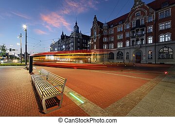 Central part of Katowice, and the tram light trails