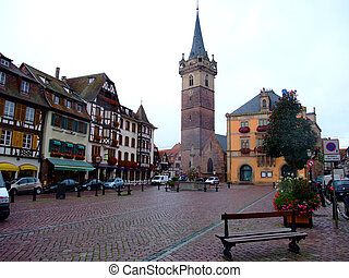 central place of Obernai city - Alsace France