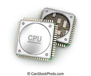 central, processeurs, isolé, illustration, informatique, fond, blanc, unité centrale traitement, 3d