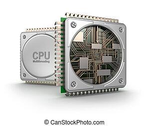central, processeurs, isolé, informatique, fond, blanc, unité centrale traitement