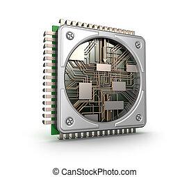 central, processeurs, moderne, isolé, informatique, fond, blanc, unité centrale traitement