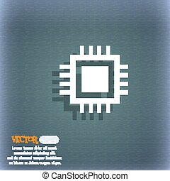 Central Processing Unit Icon. Technology scheme circle symbol. On the blue-green abstract background with shadow and space for your text. Vector
