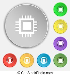 Central Processing Unit Icon. Technology scheme circle...