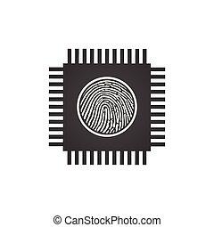 central, sécurité, concept, puce, traitement, isolé, illustration, unité centrale traitement, arrière-plan., vecteur, empreinte doigt, icon., blanc, puce, informatique, ou, unité