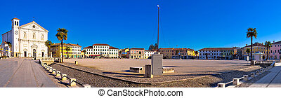 Central square in town of Palmanova panoramic view