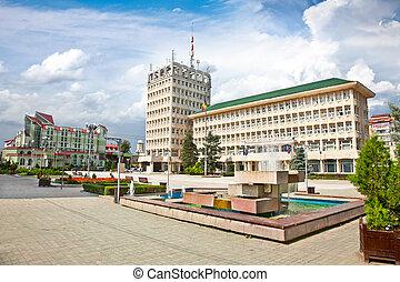 Central square of Targoviste in Romania.