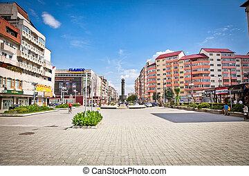 Central square of Targoviste,  (Tirgoviste), Romania.