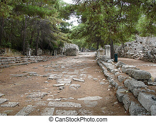 Central street in ruined city