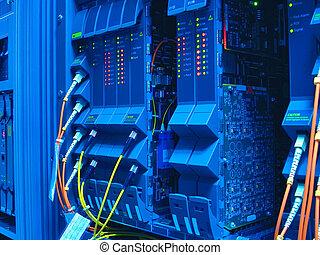 central telefónica telefónica, con, alambres