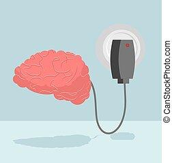 central, thoughts., batería, cargador, se energiza, ideas, autoridad, sistema, cerebrum., carga, brain., humano, nervioso, nuevo, médula, cargado