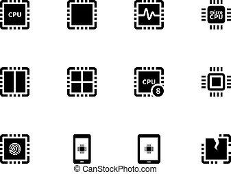 central, unit., iconos, set., procesamiento, unidad central de procesamiento