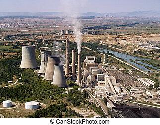 centrale électrique, aérien