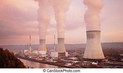 centrale électrique, coucher soleil, nucléaire