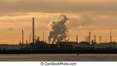 centrale électrique, huile, fumer, raffinerie