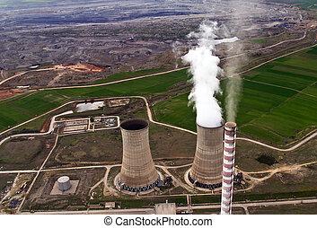 centrale électrique, &, mine de charbon, aérien