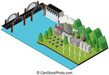 centrale électrique, par, les, rivière