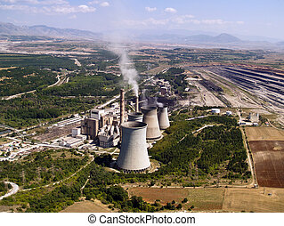 centrale électrique, &, remonter surface mien, aérien