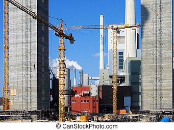 centrale électrique, site construction
