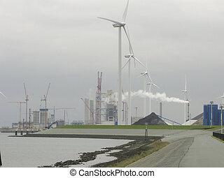 centrale électrique, vert, océan