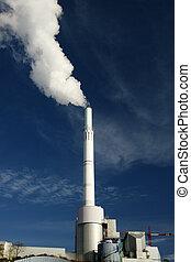 centrale elettrica, emettere, fumi, in, atmosfera