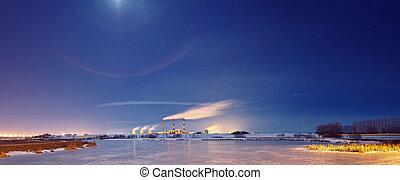 centrale elettrica, in, il, night.