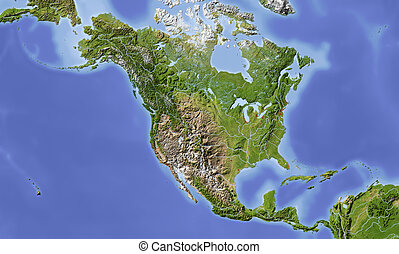 centrale, nord, ombreggiato, america, mappa sollievo