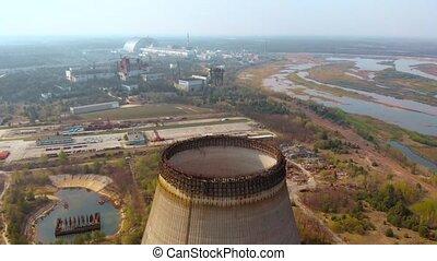 centrale nucléaire, chernobyl, vue, aérien