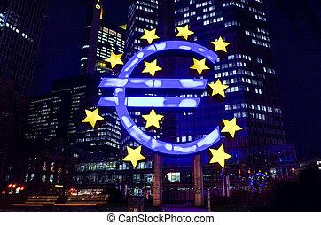 centrale, segno., (ecb), euro, banca, europeo