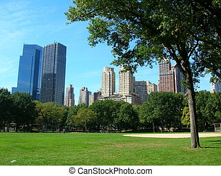 centralen parkerar, hos, solig dag, new york city