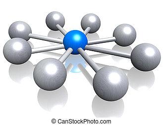 Centralization - A 3d illustration symbolizing ...