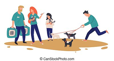 centre, adoption, choisir, vecteur, abri, chouchou, animal, ...