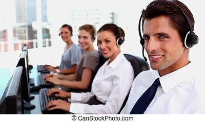centre, agent, fonctionnement, sourire, appeler