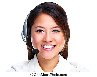 centre appel, operator., chinois, businesswoman.