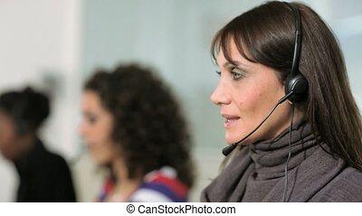 centre, appeler, réceptionnistes, femme