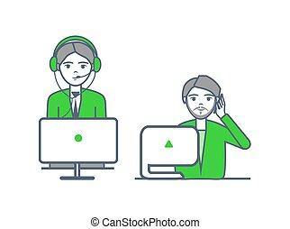 centre, appelle, recevoir, opérateurs, helpline, vecteur