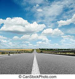 centre, asphalte, ciel, haut, nuageux, sous, fin, ligne,...
