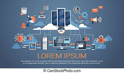 centre, base données, données, hosting, serveur, synchroniser, connexion, technologie informatique, nuage