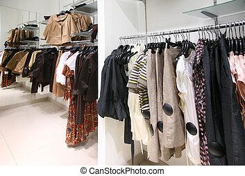 centre commercial, étagère, vêtements